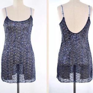 Free People Blue Sequin Ombré Straps Slip Dress XS